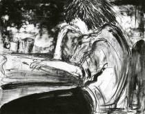 Au café, lithographie sur pierre