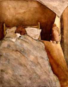 Au creux d'un petit lit, eau-forte rehaussée