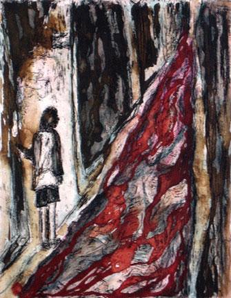 Des monstres dans le tapis, pointe-sèche rehaussée