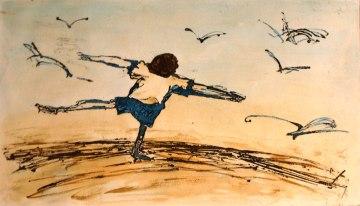 S'envoler comme les oiseaux, eau-forte rehaussée