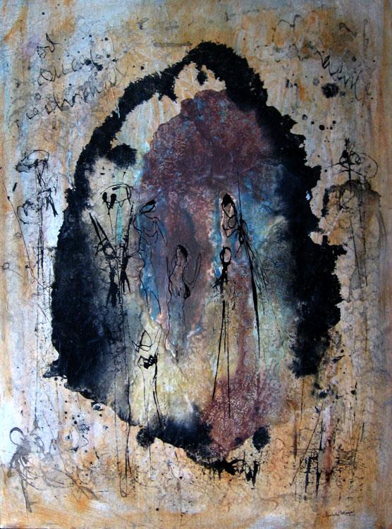La grotte des fées, encres acrylique